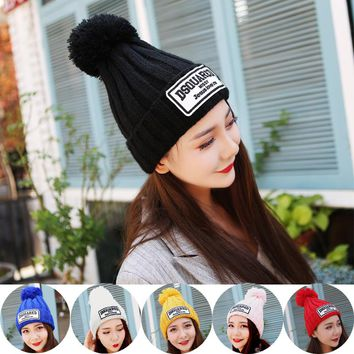 2017 Winter Knitted Cap for Women Men Casual big labeling Horns Beanies Hat Solid Speaker Skullies Beanie Hat Gorros Unisex
