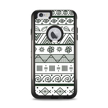 The Black & White Floral Aztec Pattern Apple iPhone 6 Plus Otterbox Commuter Case Skin Set