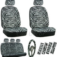Zebra Gray Car Seat Cover 17 Pc Set