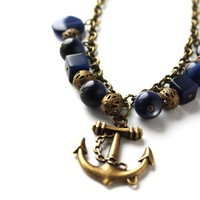 Anchor Necklace in Brass and Navy Beads - $33.00 - Handmade Crafts by Venicia Creations