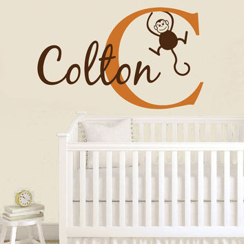 Personalized Jungle Wall Decal - Monkey Wall Decal Initial & Name for Boy Baby Nursery Toddler Teen Room 22H x 36W BN006