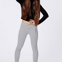 ALICIA CHECK SKINNY FIT TROUSERS WHITE