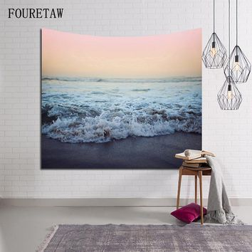 Fashion Sea Wave Sunset Glow Scenic Bohemian Colored Printed Decorative Mandala Tapestry 130cmx150cm Boho Wall Beach Carpet