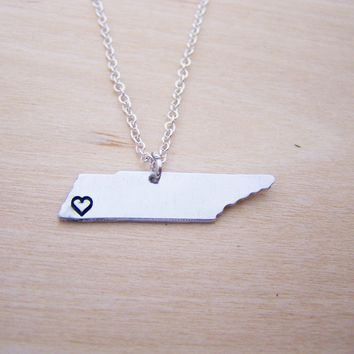 Hand Stamped Heart Tennessee State Sterling Silver Necklace / Gift for Her