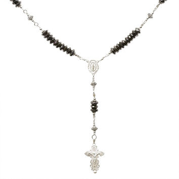 Sterling Silver Rosary Necklace Faceted Onyx 6mm, Crucifix & M. Medal, 17""