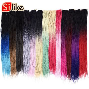 Silike 24 inch Ombre Senegalese Twist Hair Crochet 30 Roots Synthetic Crotchet Braiding Hair for Women 1 pack/lot 95g