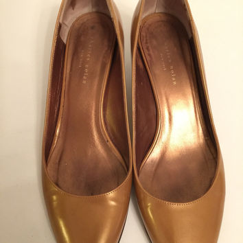 Charles Nolan Gold Nude Camel Brown Patent Leather Pumps With Heels Eu 38 Us 8 (Small/Indie Brands)