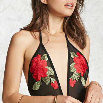 Floral Applique Mesh Bodysuit