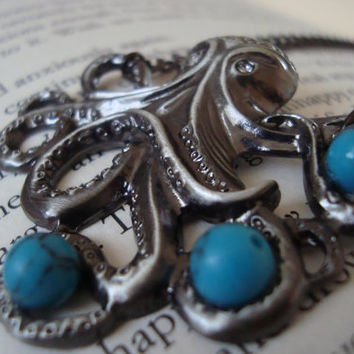 Octopus necklace with turquoise beads