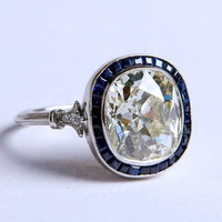4.12ct Cushion Moissonite Diamond Engagement Ring Art Deco Sapphire Halo 18kt White Gold Blueriver47 on Etsy Fine Jewelry Anniversary ring