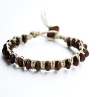 Natural Hemp Bracelet with Brown Rondelle Beads Friendship
