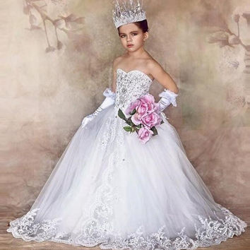 Crystal Ball Gown Flower Girl Dresses 2017 Sweetheart Long Kids Evening Gowns First Communion Dresses For Wedding Party M2665