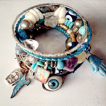 Gypsy tribal bangle stack in silver and teal blue with hamsa hand, Milagros, raw gemstones and wrapped silk