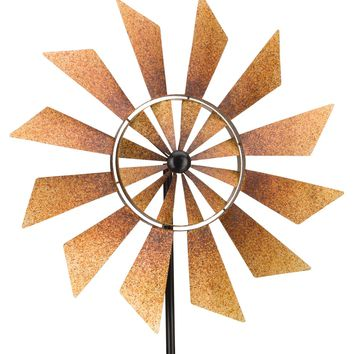 Rustic Turbines Double Rotating Metal Kinetic Garden Stake Wind Spinner
