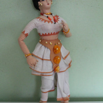 Beautiful Handmade India Doll, Folklore Doll, National Doll, Traditional Doll, Etchnic Doll, East Doll, Woman Figure, Collectible Home Decor