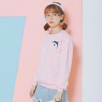 Pink Whale Printed Long Sleeve Sweatshirt