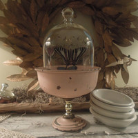 Vintage Pink Pedestal Bowl / Glass Cloche with Butterflies