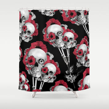Evolution of Poppies Pattern Shower Curtain by Kristy Patterson Design
