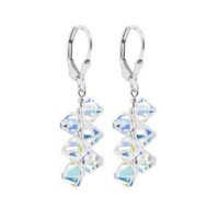 SCER008 925 Sterling Silver Light Blue Handmade Dangle Earrings Made with Swarovski Crystal Elements