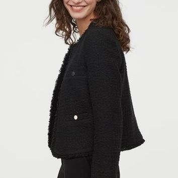 Textured-weave Jacket - Black - Ladies | H&M US