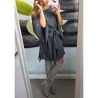 Casual Blue Irregular Bow Lace Up One-Shoulder Boat Neck Trumpet Sleeve Mini Dress
