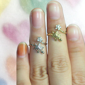 adjustable/Flower and turtle knuckle ring/Woman ring/Sorcerer's symbol/Cute and lovely ring