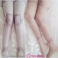 [3 For 2] White/Skin Harajuku Puppet Ball-joint Doll Tattoo Tights SP130069
