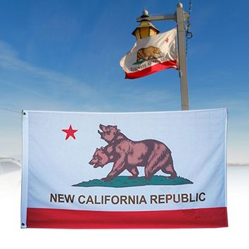 Republic Banner New California Flag Encyclopedia Sigh Polyester Double-Head Bear Decorating Colorful