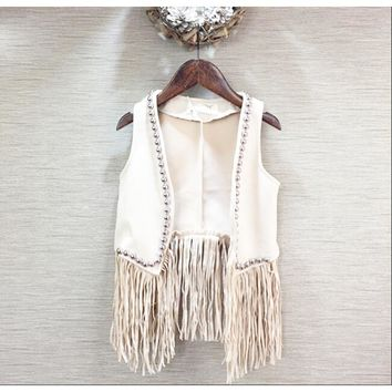 Girls vests Baby girl Tassel European and American waistcoat