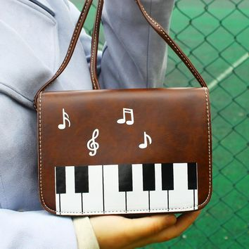 Piano Pattern Lady Crossbody Shoulder Bag