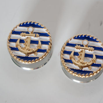 "Nautical Anchor Plugs Gauges available in 3/4"" 7/8"" 1"""