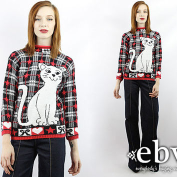 Vintage 80s Kitten Sweater Cat Sweater Hipster Sweater XS S Vintage Sweater Vintage Jumper Cat Jumper Plaid Sweater