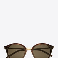 classic 57 sunglasses in shiny classic havana acetate and gold steel with mirror bronze lenses