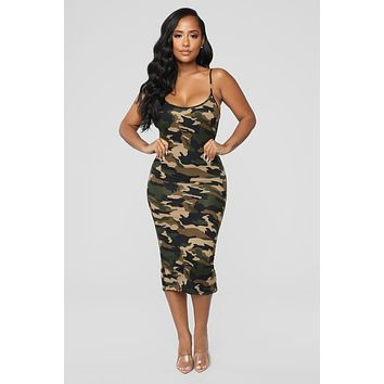Women's Casual Sleeveless Camouflage Dress