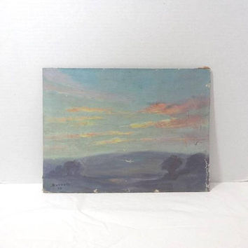 Charming Early 20th Century Oil Painting on Board, Mountain Scene, 9 x 12 Inches, Signed Everett 1933 (?), Vintage Art, Antique Art,