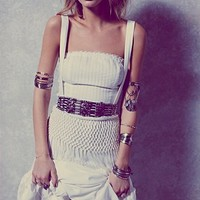 Free People Womens Abbie's Limited Edition White Fringe Dress