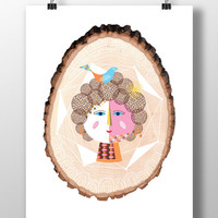 Contemporary Character Illustration on Wood,Unique Wall Art,Lady With a Bird,Instant Download,Digital Art Illustration,DIY Print,Decor