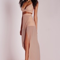 Missguided - Mesh Wrap Over Maxi Skirt Nude
