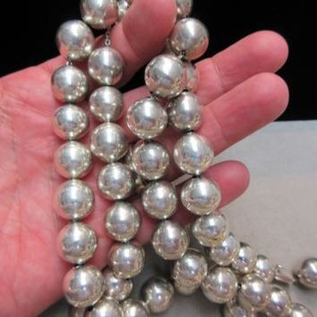 "HUGE Vintage Taxco Sterling Silver 14mm Pearl Bead Necklace 38"", 130 grams"
