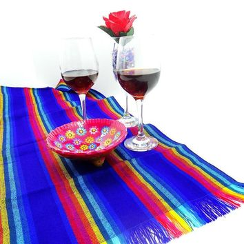 Mexican Dinner Party Table Runner in Blue, 14X72TRC115
