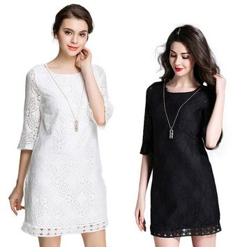 Summer NEW Translucent Lace Half Flare Sleeve Round neck Sexy Woman Straight Knee-Length Bodycon dress Black White