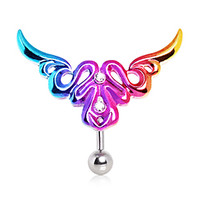 316L Surgical Steel Top Down Rainbow Tribal Logo Navel Ring