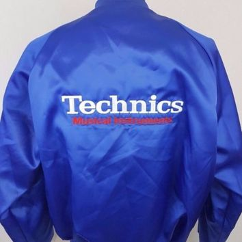Vintage Technics Musical Instruments Turntable Keyboards Satin Dealer Jacket XL