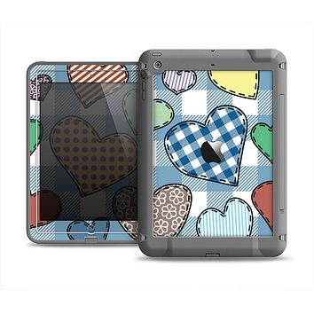 The Stitched Plaid Vector Fabric Hearts Apple iPad Mini LifeProof Fre Case Skin Set