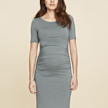 Ruched T Shirt Maternity Dress -  Sage
