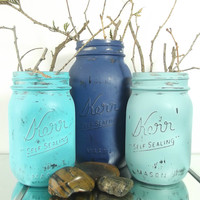 Three Blue Mason Jars