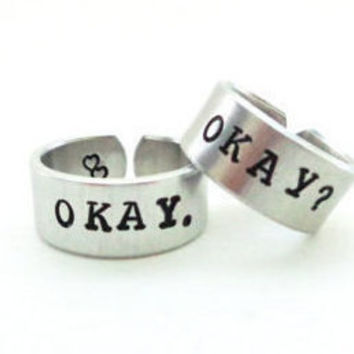 Okay Okay Ring Set / Friendship Ring Set / Adjustable Cuff Rings / A Pair of TWO Friendship Rings / Customizable