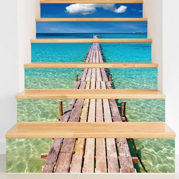 Seaside Pier Wall Decal for Stairs