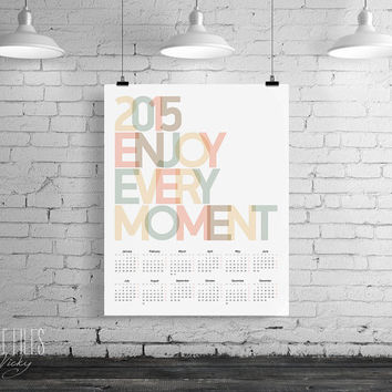 Calendar 2015 printable yearly organizer, 2015 printable wall desk calendar, month year, digital DIY ArtFilesVicky, INSTANT DOWNLOAD.