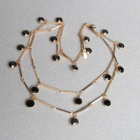 Vintage Swarovski Dangle Black Open Back Crystal Gold Tone Bar Chain Long Necklace